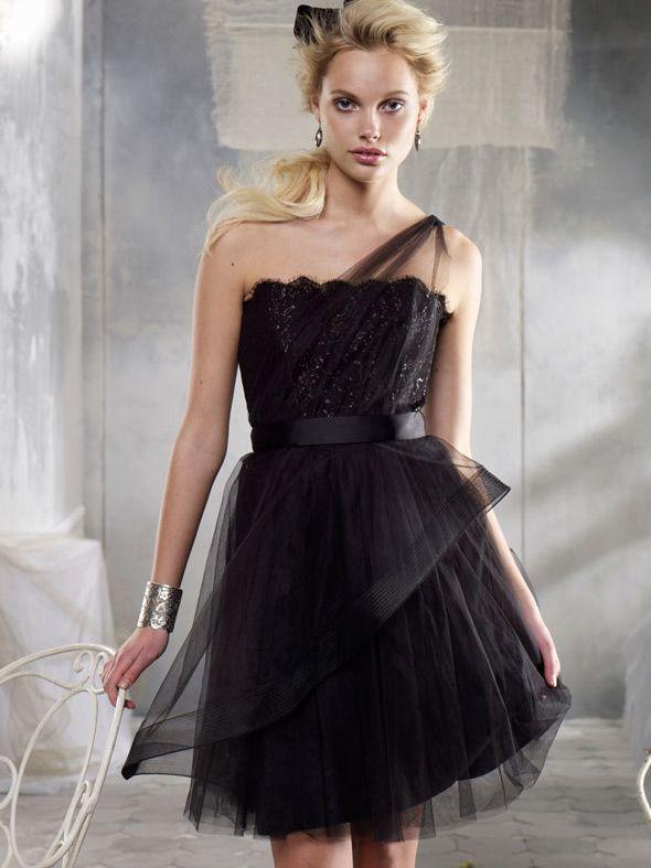 Black One Shoulder Tulle Short Bridesmaid Dress 2013