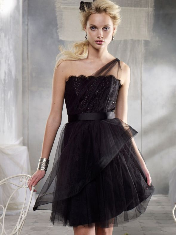 Black One Shoulder Tulle Short Bridesmaid Dress 2013
