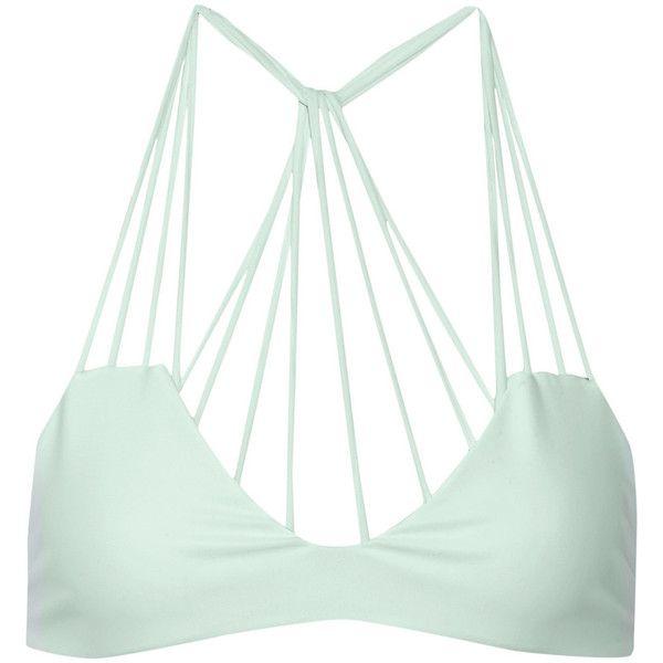 Mikoh Banyans cutout bikini top ($140) ❤ liked on Polyvore featuring swimwear, bikinis, bikini tops, bikini, swimsuit, tops, beach, green, tankini swimsuit tops and green bikini swimsuit