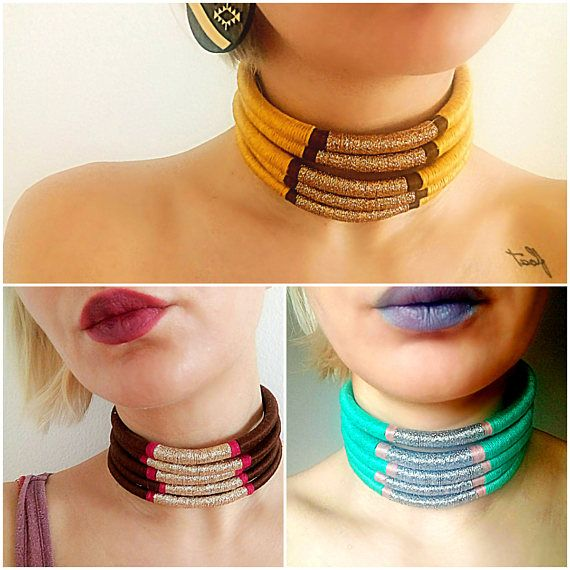 Colorful Multi Strand Choker Necklace made from bungee rope wrapped in different embroidery threads. Choker necklace length is about 36 cm and height about 4 cm with chain which allows changes in length but if you want it longer or shorter, just let me know