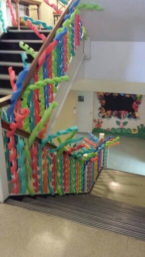 stairways for VBS.... spiral cut pool noodles.....  (Such a cool idea to use with G-Force VBS! cokesburyvbs.com)