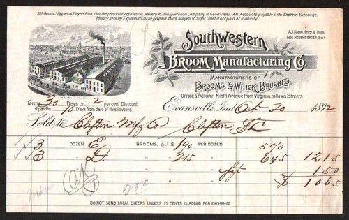 Southwestern Broom Co Whisk Brushes Evansville in 1892 Vintage Letterhead RARE | eBay