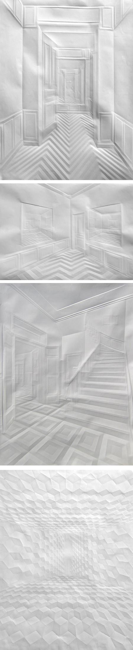 Simon Schubert. German artist Simon Schubert works in the novel medium of creased paper. using the sharp creases as lines he lets the differences in surface provide tones under the controlled lighting in which the piece is photographed.