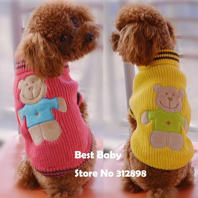 2015 новинка костюм для собак желтого, розового, зеленого цвета в полоску, хлопковый милый свитер с медвежонком для кошек, щенков, йоркширского терьера РТ
