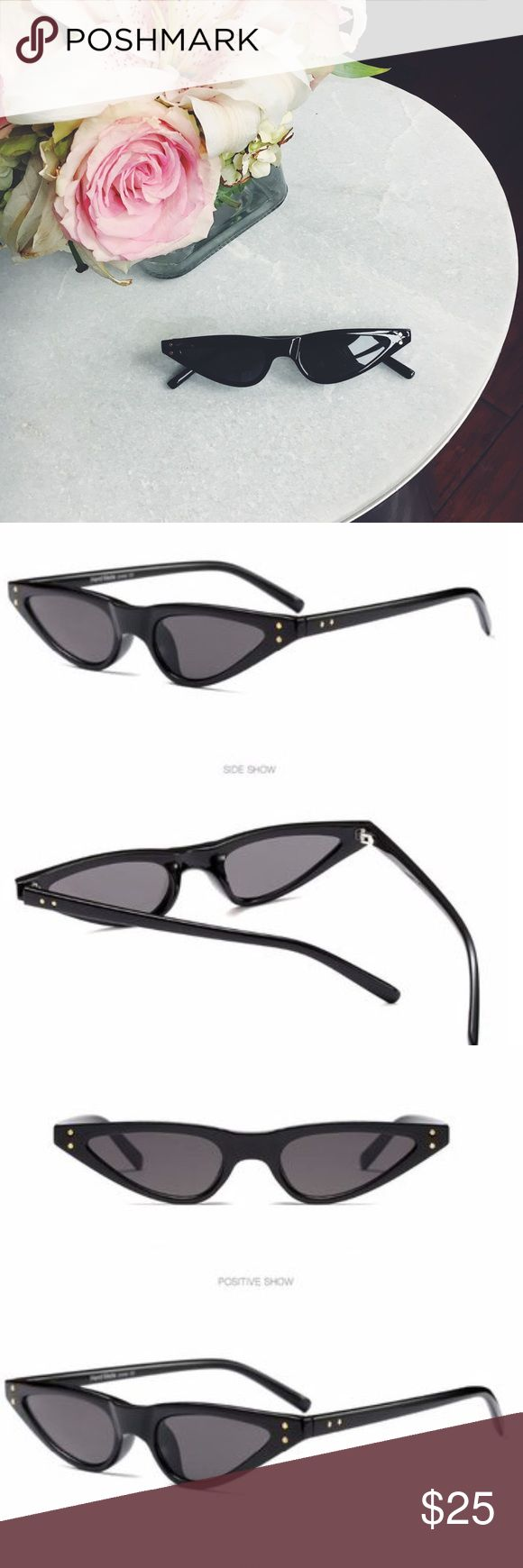 """June Black Tiny Cat Eye Sunnies Sunglasses New Boutique Item. Trend Alert❣ Tiny Cat Eye  Sunnies! Also comes in Red & Tortoise. Color: Black Lens Material: Polycarbonate Frame Material: Plastic Lens Optical Attributes: UV400 Lens Width: approximately 2"""" Frame Height: a little over 1"""" Frame Length: approximately 6"""" Accessories Sunglasses"""