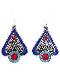 Fashion Ohrringe für Frauen 925Silber Dangle Ohrringe Koralle, Lapis & Türkis Ohrringe By tibetischen Silber