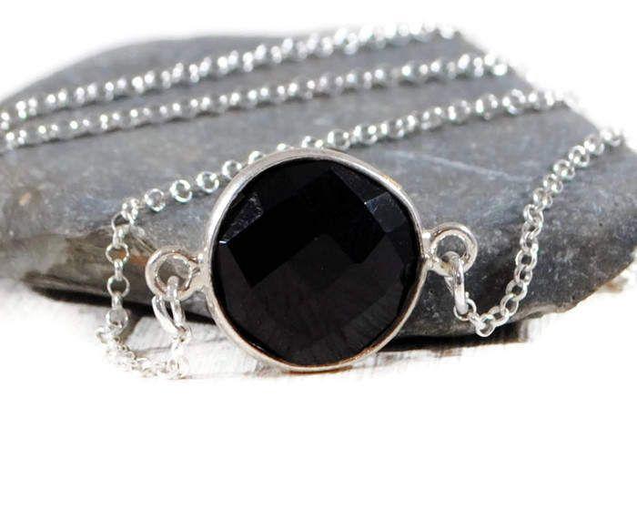 Black Onyx Bezel Necklace. Minimalist, Dainty Sterling Silver Gemstone Necklace. Black Onyx Gemstone Sideways Necklace. GSminimal Jewelry