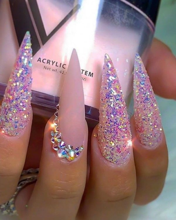 Valentine S Day Nail Art Design Ideas For Long Coffin Nail Shapes In 2020 Pink Stiletto Nails Coffin Nails Designs Glamorous Nails