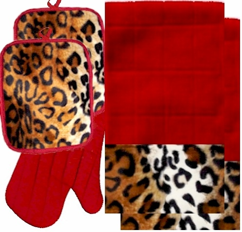 AnythingAnimals.com Animals Bordering Africa Animal Print Kitchen Linen Set Red/Leopard $35
