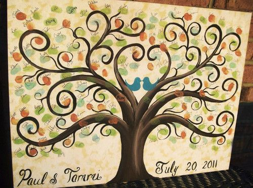 Thumbprint Fingerprint Wedding Tree / Family Reunion Guestbook Original Canvas