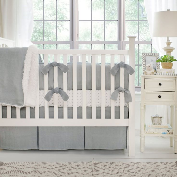 Fabulous Washed Linen in Gray Baby Bedding Set