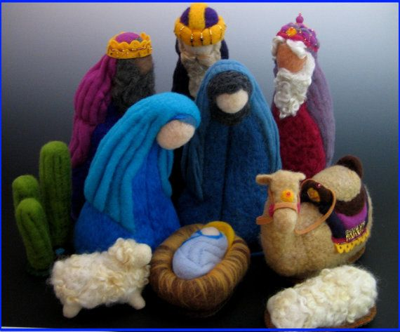 3 piece Large Heirloom Needle Felted Nativity Set by AnnieCarvalho