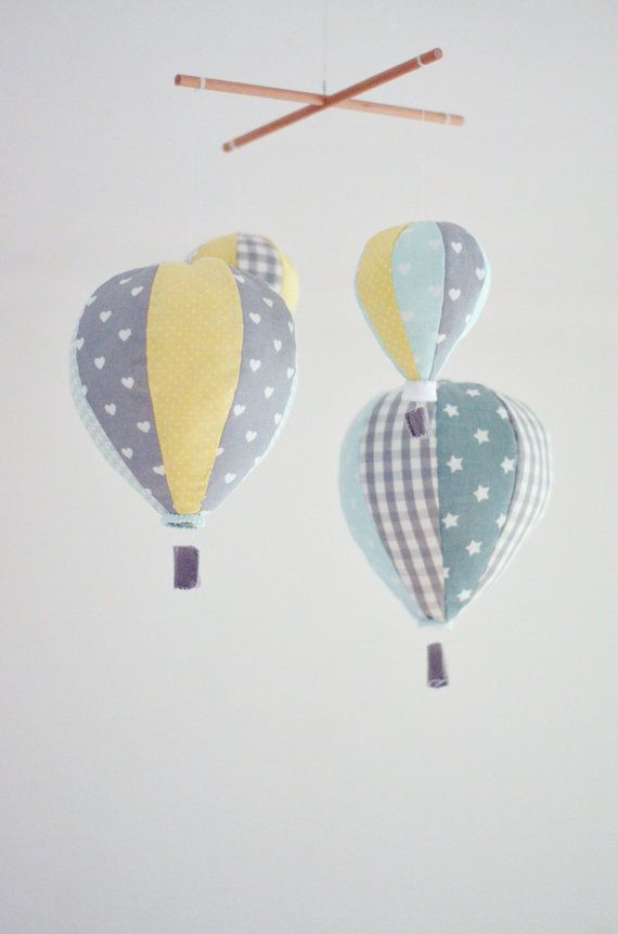 Handmade to order, custom baby mobile with 4 hot air balloons.  Perfect for nursery decor or cute baby shower gift.  In colors and fabrics