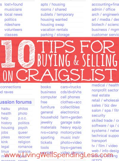 Thinking of buying or selling an item on Craigslist?  Don't miss these 10 expert tips for getting either the best bargain or the best selling price!