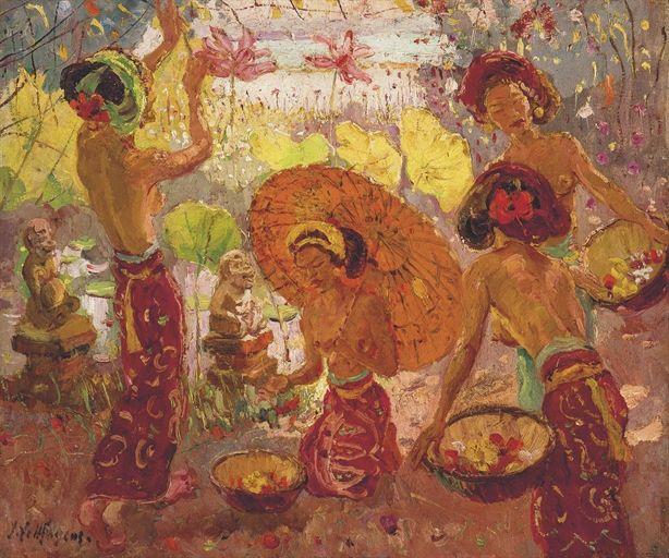Adrien Jean Le Mayeur De Merprés - Balinese Girls Gathering Flowers sold by Christie's for USD 435,683.