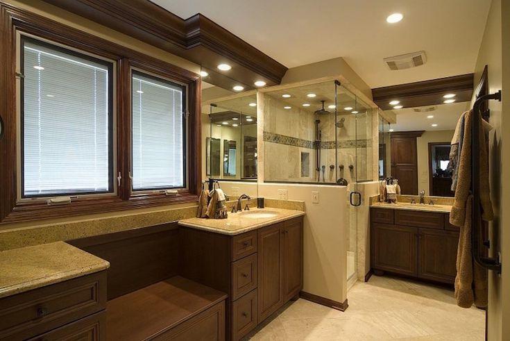 Luxury cream and rich brown master bathroom. 50 Magnificent Luxury Master Bathroom Ideas ➤To see more Luxury Bathroom ideas visit us at www.luxurybathrooms.eu #luxurybathrooms #homedecorideas #bathroomideas @BathroomsLuxury