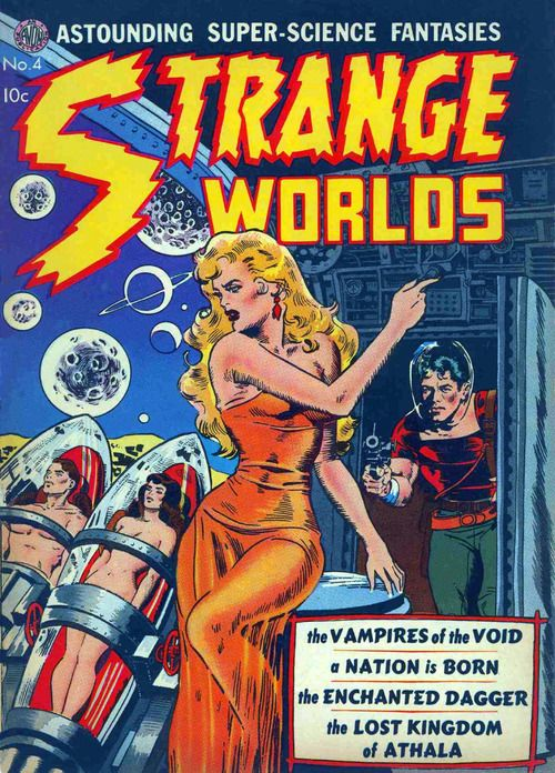 Classic Wally Wood cover to Strange Worlds #4, published by Avon Periodicals, September 1951. Tube guy and tube girl.