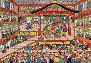 Inside a Kabuki Theatre with audience and actors