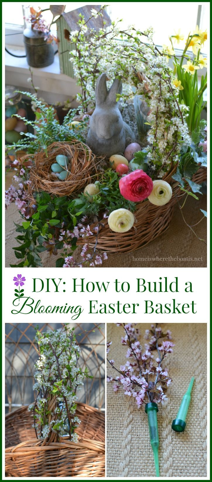 Easy tips and tricks for building a blooming Easter basket! Good tutorial for creating a centerpiece with a basket using pots of flowers for Mother's Day or May Day too! #DIY | homeiswheretheboatis.net #Easter