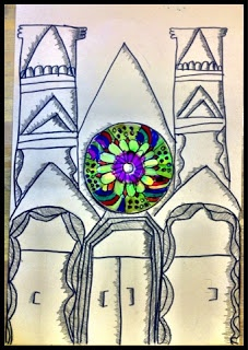 Organized Chaos: 5th Grade - Gothic Architecture. Make a rose window out of a cd and draw the cathedral around it.