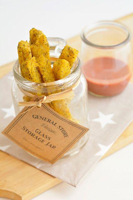 Frites de polenta au four, sauce tandoori (sans gluten, vegan)