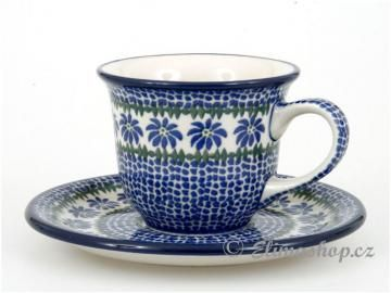 This Handmade Polish Pottery CUP is from ELIMAshop.cz . It was handpainted in Boleslawiec . Bunzlau . ceramics . stoneware . ( šálek s podšálkem 0,15 l )