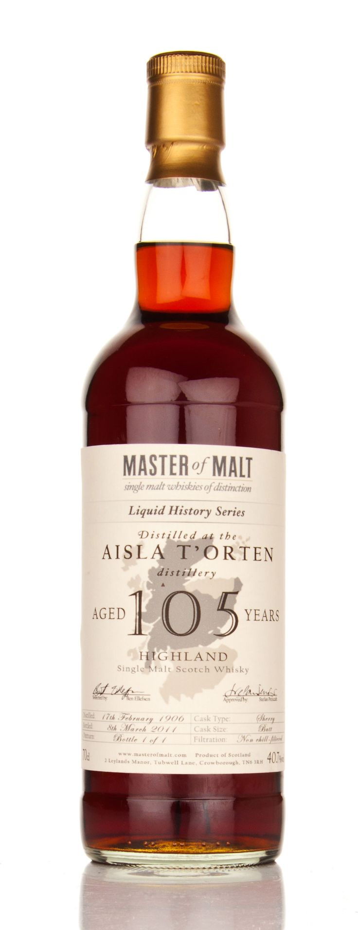 Aisla T'Orten 105-Year-Old is one of the world's oldest and most expensive whiskies at $1.4 million