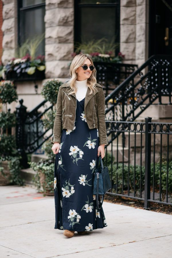 How To Wear A Floral Maxi In The Fall With Layers Bows Sequins Maxi Dress Outfit Fall Maxi Dress Maxi Dresses Fall