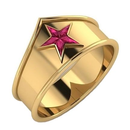Wonder Woman Ring with Custom-Cut Created Rubies