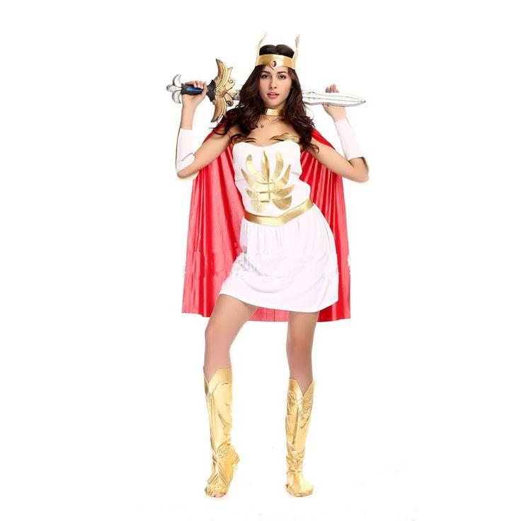 5 Piece Women's White Sexy Egyptian Roman Warrior Dress Halloween Costumes Greek Goddess Queen Cosplay Dress