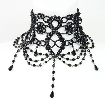 Burlesque large black Victorian beaded choker necklace - Gothic Metal Restyle www.attitudeholland.nl €18.99