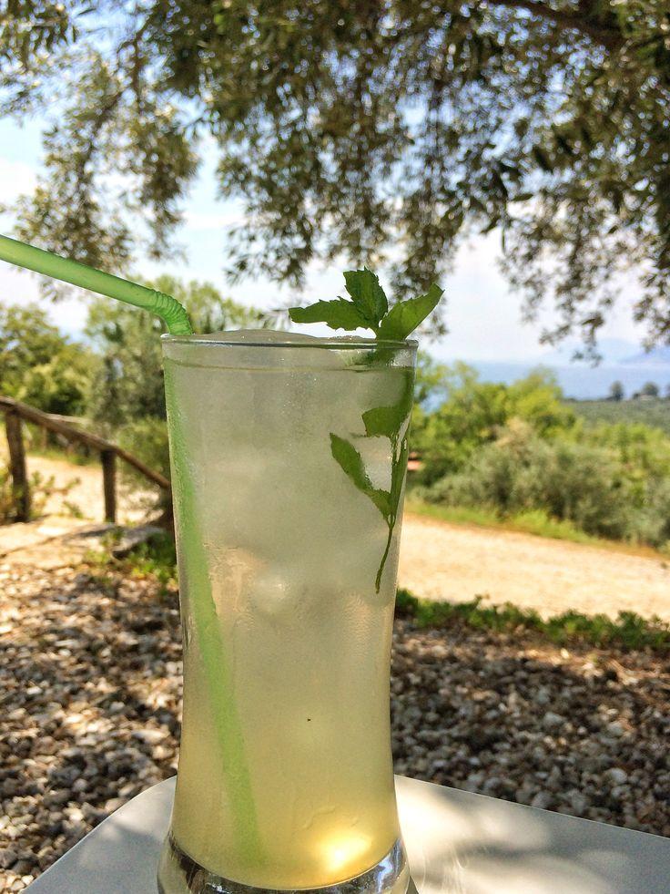Home made lemonade under the Olive Tree!   #lemonade #eleonashotel #rovies