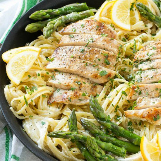 Creamy lemon pasta with fresh spring asparagus and grilled chicken - a quick & easy meal that's elegant enough for company.