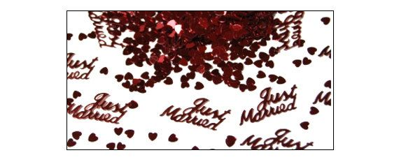 Burgundy Just Married table confetti weddings by TheVerySmallCo