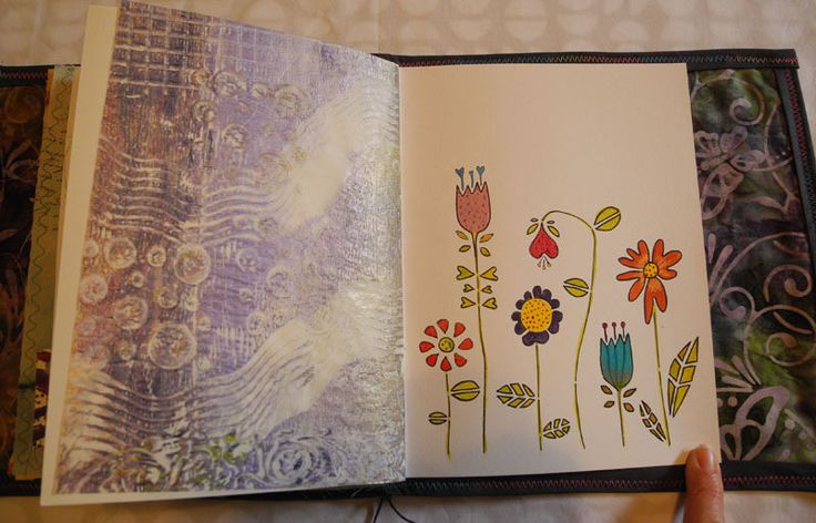 Fabric Book Page Watercolour paper and gelliplate