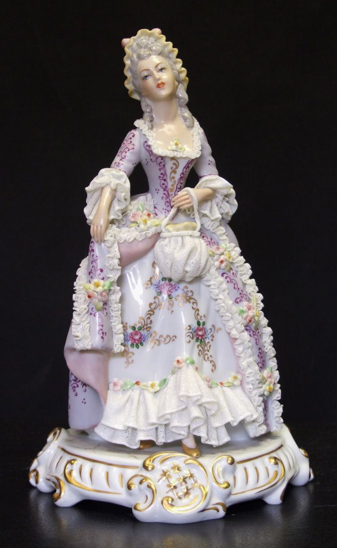 """Porcelain 'Dresden Lace' Lady Figurine. [""""My violet lady, donned in lace, full of poise and fragrant grace."""" Marianne Coyne]"""