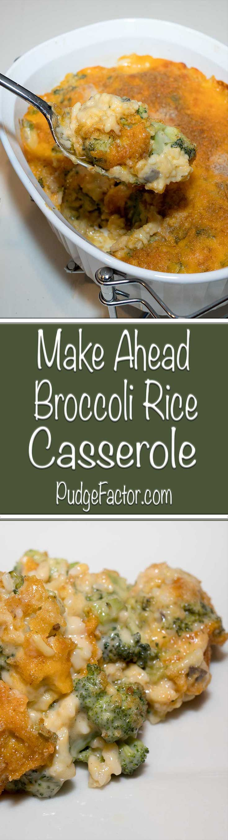 Creamy and cheesy Broccoli Rice Casserole - a delicious make ahead side dish for your Thanksgiving feast.