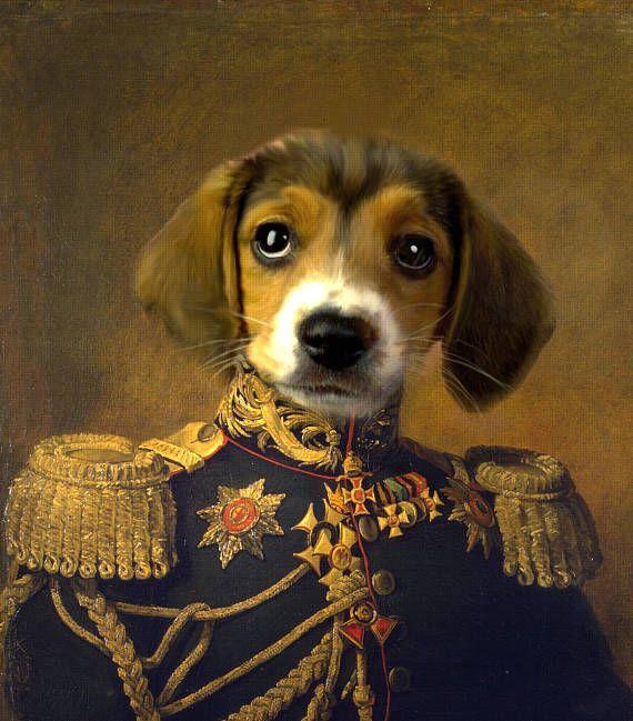 Royal Pet портрет, портрет с фотографией, печать на холсте, плакат, на заказ Портрет собаки, персонализированный Портрет кошки, красивые, нелепым.