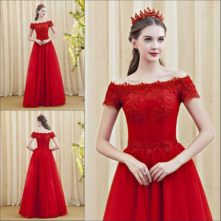 Red Lace Appliques Boat Neck Evening Dress Plus Size A-Line Lace Formal Evening Dresses Long Robe De Soiree Longue 2016 AC659