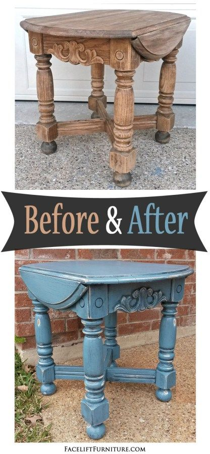 Chunky End Table in Thundercloud Blue - Before and After from Facelift Furniture