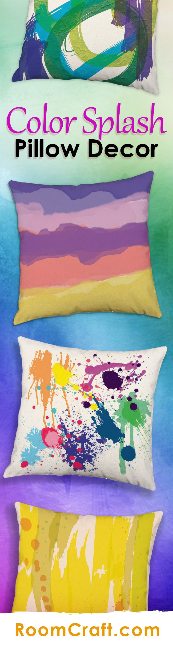 These bright and colorful artistic throw pillows will add a pop of color to any space. Each design is offered in multiple fabrics, colors, and sizes making them a great addition to any room, studio or gallery. Our quality art pillow covers are made to order in the USA and feature 3 wooden buttons on the back for closure. Choose your favorite and create a truly unique artistic pillow set. #roomcraft