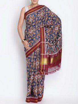 Blue-Maroon Silk Double Ikat Patan Patola Silk Saree
