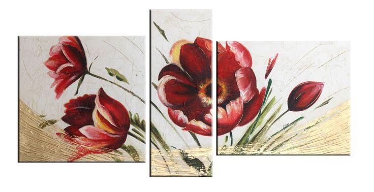 Quadri moderni: Floreale 247 - dipinto su tela materica con effetti di particolare rilievo creati con stucchi e colori in rilievo