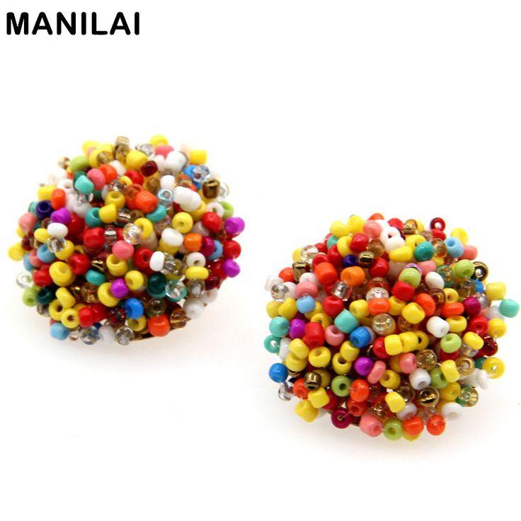 MANILAI 17 Color Choice Perfect Match Bohemia Earrings 2016 Women Accessories Ethnic Jewelry Resin Handmade Beaded Earring FE159