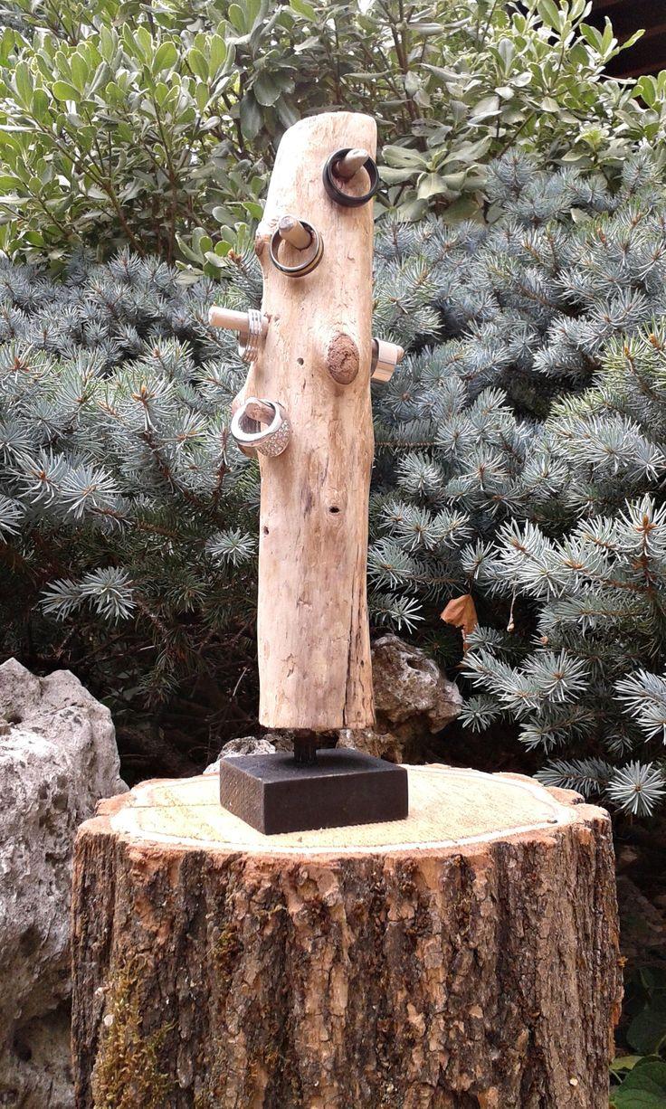 Espositore per anelli in legno spiaggiato naturale, portagioie, display per piccoli gioielli, decorare in modo pratico la zona beauty di Engardina su Etsy