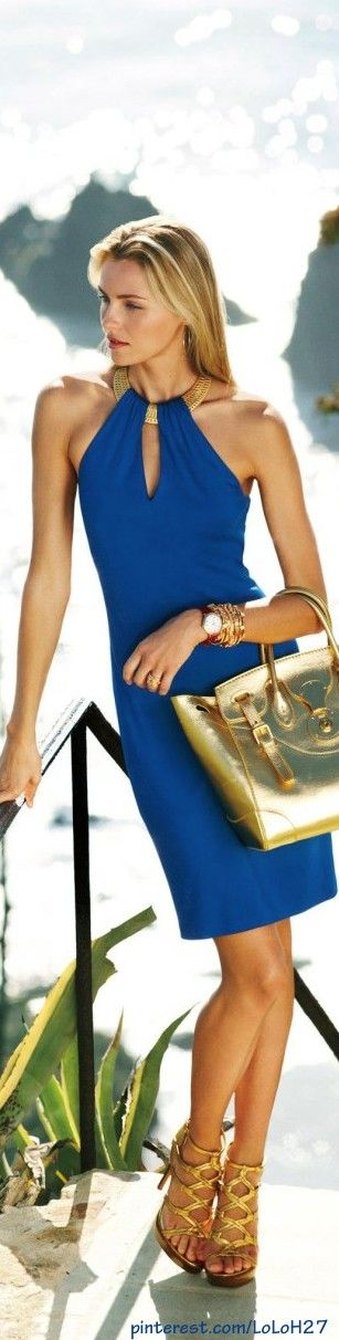 Ralph Lauren ~ Black Label Blue Halter Dress  GeorgiaPapadon.com