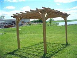 10x14. Of pressure-treated wood.