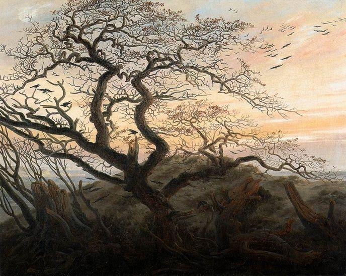 'The Tree of Crows', öl von Caspar David Friedrich (1774-1840, Germany), derzeit im Museum de Louvre in Paris ausgestellt.