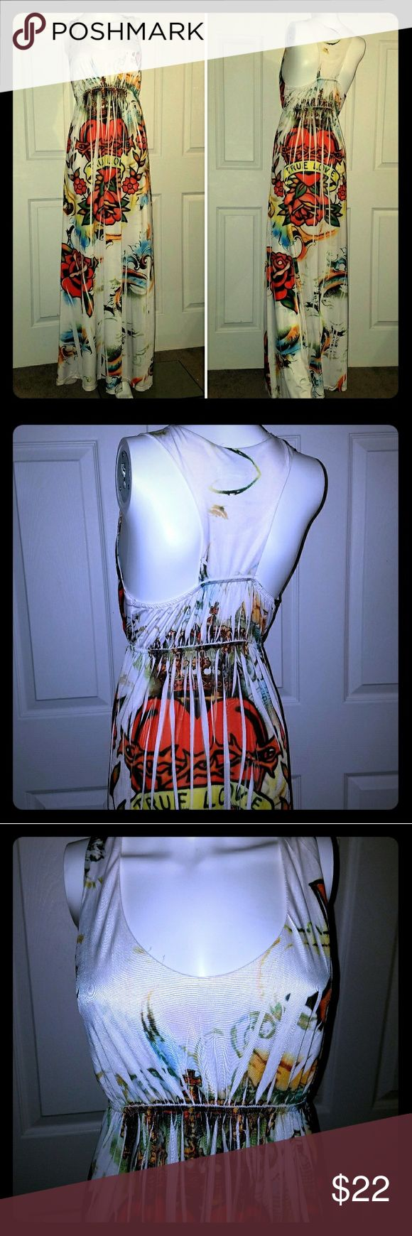 """🆕Bright Maxi Dress """"True Love"""" Cute racerback style maxi wirh elastic empire waist. Ed Hardy inspired. Fits great with a racerback bra or without. 45"""" length from empire (under boob) to bottom. This has been worn but is in great condition. Sam & Max Dresses Maxi"""
