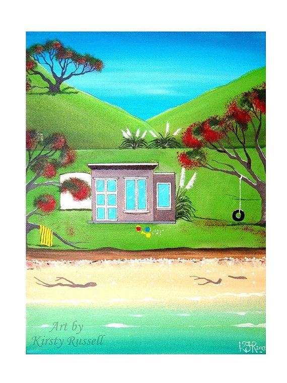 Kiwi Bach - Digital Print from Original painting by Kirsty Russell
